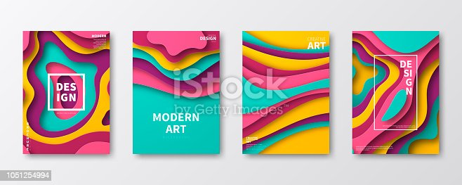 Set of four vertical brochure templates with an modern and trendy background (Abstract design with wave shapes in a paper cut style - purple, pink, blue, green, turquoise, yellow, orange). Can be used for different designs, such as brochure, cover design, magazine, business annual report, flyer, leaflet, presentations... Template for your design. With space for your text and your background. The layers are named to facilitate your customization. Vector Illustration (EPS10, well layered and grouped). Easy to edit, manipulate, resize or colorize. Please do not hesitate to contact me if you have any questions, or need to customise the illustration. http://www.istockphoto.com/portfolio/bgblue
