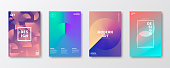 Set of four vertical brochure templates with colorful abstract backgrounds (purple, pink, green, cyan, blue, beige, orange). Can be used for different designs, such as brochure, cover design, magazine, business annual report, flyer, leaflet, presentations... Template for your design. With space for your text and your background. The layers are named to facilitate your customization. Vector Illustration (EPS10, well layered and grouped). Easy to edit, manipulate, resize or colorize.