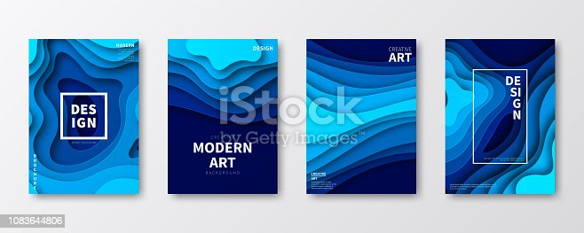 Set of four vertical brochure templates with an modern and trendy background (Abstract design with wave shapes in a paper cut style - blue). Can be used for different designs, such as brochure, cover design, magazine, business annual report, flyer, leaflet, presentations... Template for your design. With space for your text and your background. The layers are named to facilitate your customization. Vector Illustration (EPS10, well layered and grouped). Easy to edit, manipulate, resize or colorize.