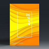 Vertical brochure template with an modern and trendy background (Abstract design with wave shapes in a paper cut style - orange, yellow). Can be used for different designs, such as brochure, cover design, magazine, business annual report, flyer, leaflet, presentations... Template for your design. With space for your text and your background. The layers are named to facilitate your customization. Vector Illustration (EPS10, well layered and grouped). Easy to edit, manipulate, resize or colorize.