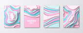 Set of four vertical brochure templates with an modern and trendy background (Abstract design with wave shapes in a paper cut style - Pastel colors, pink, purple, green, blue, turquoise). Can be used for different designs, such as brochure, cover design, magazine, business annual report, flyer, leaflet, presentations... Template for your design. With space for your text and your background. The layers are named to facilitate your customization. Vector Illustration (EPS10, well layered and grouped). Easy to edit, manipulate, resize or colorize. Please do not hesitate to contact me if you have any questions, or need to customise the illustration. http://www.istockphoto.com/portfolio/bgblue
