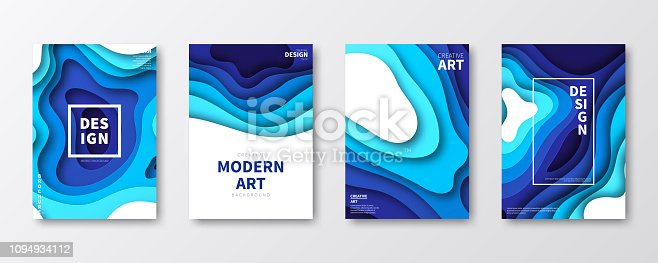 Set of four vertical brochure templates with an modern and trendy background (Abstract design with wave shapes in a paper cut style - blue, white). Can be used for different designs, such as brochure, cover design, magazine, business annual report, flyer, leaflet, presentations... Template for your design. With space for your text and your background. The layers are named to facilitate your customization. Vector Illustration (EPS10, well layered and grouped). Easy to edit, manipulate, resize or colorize. Please do not hesitate to contact me if you have any questions, or need to customise the illustration. http://www.istockphoto.com/portfolio/bgblue