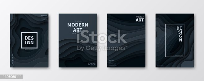 Set of four vertical brochure templates with an modern and trendy background (Abstract design with wave shapes in a paper cut style - black, grey). Can be used for different designs, such as brochure, cover design, magazine, business annual report, flyer, leaflet, presentations... Template for your design. With space for your text and your background. The layers are named to facilitate your customization. Vector Illustration (EPS10, well layered and grouped). Easy to edit, manipulate, resize or colorize. Please do not hesitate to contact me if you have any questions, or need to customise the illustration. http://www.istockphoto.com/portfolio/bgblue