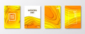 Set of four vertical brochure templates with an modern and trendy background (Abstract design with wave shapes in a paper cut style - orange, yellow). Can be used for different designs, such as brochure, cover design, magazine, business annual report, flyer, leaflet, presentations... Template for your design. With space for your text and your background. The layers are named to facilitate your customization. Vector Illustration (EPS10, well layered and grouped). Easy to edit, manipulate, resize or colorize. Please do not hesitate to contact me if you have any questions, or need to customise the illustration. http://www.istockphoto.com/portfolio/bgblue