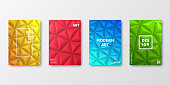 Set of four vertical brochure templates with modern and trendy backgrounds, isolated on blank background. Abstract geometric illustrations in a low poly style. Polygonal mosaics with beautiful color gradients (colors used: Red, Pink, Orange, Green, Blue, Turquoise, Yellow). Can be used for different designs, such as brochure, cover design, magazine, business annual report, flyer, leaflet, presentations... Template for your own design, with space for your text. The layers are named to facilitate your customization. Vector Illustration (EPS10, well layered and grouped), wide format (2:1). Easy to edit, manipulate, resize and colorize.