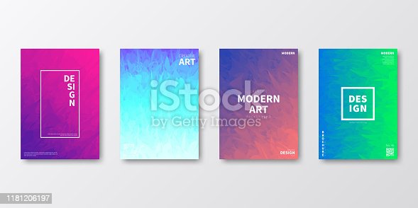 Set of four vertical brochure templates with modern and trendy backgrounds, isolated on blank background. Colorful illustrations with abstract textures and beautiful color gradients (colors used: Purple, Pink, Orange, Green, Blue, Turquoise). Can be used for different designs, such as brochure, cover design, magazine, business annual report, flyer, leaflet, presentations... Template for your own design, with space for your text. The layers are named to facilitate your customization. Vector Illustration (EPS10, well layered and grouped), wide format (2:1). Easy to edit, manipulate, resize and colorize.
