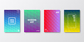 Set of four vertical brochure templates with modern and trendy backgrounds, isolated on blank background. Abstract colorful illustrations with geometric patterns and beautiful color gradients (colors used: Red, Purple, Pink, Orange, Green, Blue, Turquoise, Yellow). Can be used for different designs, such as brochure, cover design, magazine, business annual report, flyer, leaflet, presentations... Template for your own design, with space for your text. The layers are named to facilitate your customization. Vector Illustration (EPS10, well layered and grouped), wide format (2:1). Easy to edit, manipulate, resize and colorize.