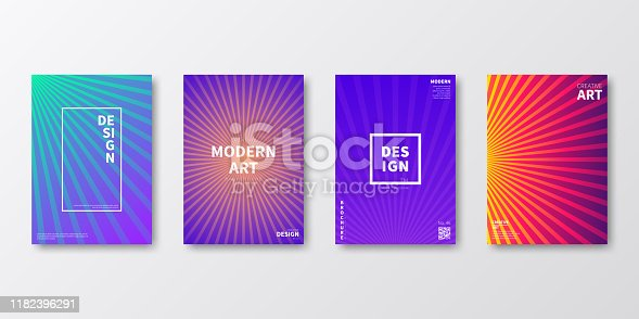 Set of four vertical brochure templates with modern and trendy backgrounds, isolated on blank background. Abstract colorful illustrations. Geometric designs with lines and beautiful color gradients (colors used: Red, Purple, Pink, Orange, Green, Blue, Beige, Turquoise, Yellow). Can be used for different designs, such as brochure, cover design, magazine, business annual report, flyer, leaflet, presentations... Template for your own design, with space for your text. The layers are named to facilitate your customization. Vector Illustration (EPS10, well layered and grouped), wide format (2:1). Easy to edit, manipulate, resize and colorize.