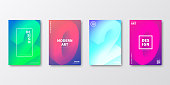 Set of four vertical brochure templates with modern and trendy backgrounds, isolated on blank background. 2020 or number 2 (two), 0 (zero), 2 (two), 0 (zero) in isometric view with beautiful color gradients (colors used: Purple, Pink, Orange, Green, Blue, Turquoise). Can be used for different designs, such as brochure, cover design, magazine, business annual report, flyer, leaflet, presentations... Template for your own design, with space for your text. The layers are named to facilitate your customization. Vector Illustration (EPS10, well layered and grouped), wide format (2:1). Easy to edit, manipulate, resize and colorize.
