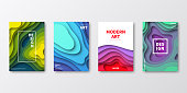 Set of four vertical brochure templates with modern and trendy backgrounds, isolated on blank background. Abstract illustrations with wave shapes in a paper cut style and beautiful color gradients (colors used: Red, Purple, Pink, Orange, Green, Blue, Turquoise, Yellow). Can be used for different designs, such as brochure, cover design, magazine, business annual report, flyer, leaflet, presentations... Template for your own design, with space for your text. The layers are named to facilitate your customization. Vector Illustration (EPS10, well layered and grouped), wide format (2:1). Easy to edit, manipulate, resize and colorize.