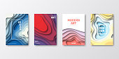 Set of four vertical brochure templates with modern and trendy backgrounds, isolated on blank background. Abstract illustrations with wave shapes in a paper cut style and beautiful color gradients (colors used: Red, Purple, Pink, Orange, Green, Gray, Blue, Beige, Yellow). Can be used for different designs, such as brochure, cover design, magazine, business annual report, flyer, leaflet, presentations... Template for your own design, with space for your text. The layers are named to facilitate your customization. Vector Illustration (EPS10, well layered and grouped), wide format (2:1). Easy to edit, manipulate, resize and colorize.