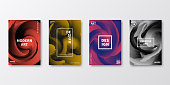 Set of four vertical brochure templates with modern and trendy backgrounds, isolated on blank background. Colorful illustrations with abstract shapes and beautiful color gradients (colors used: Red, Purple, Pink, Orange, Gray, Brown, Blue, Black, Yellow). Can be used for different designs, such as brochure, cover design, magazine, business annual report, flyer, leaflet, presentations... Template for your own design, with space for your text. The layers are named to facilitate your customization. Vector Illustration (EPS10, well layered and grouped), wide format (2:1). Easy to edit, manipulate, resize and colorize.