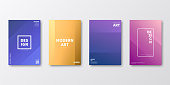 Set of four vertical brochure templates with modern and trendy backgrounds, isolated on blank background. Abstract colorful illustrations with two symmetrical folds and beautiful color gradients (colors used: Purple, Pink, Orange, Green, Brown, Blue, Beige, Yellow). Can be used for different designs, such as brochure, cover design, magazine, business annual report, flyer, leaflet, presentations... Template for your own design, with space for your text. The layers are named to facilitate your customization. Vector Illustration (EPS10, well layered and grouped), wide format (2:1). Easy to edit, manipulate, resize and colorize.