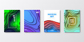 Set of four vertical brochure templates with modern and trendy backgrounds, isolated on blank background. Abstract illustrations with wave shapes in a paper cut style and beautiful color gradients (colors used: Red, Purple, Pink, Orange, Green, Brown, Blue, Black, Turquoise, Yellow). Can be used for different designs, such as brochure, cover design, magazine, business annual report, flyer, leaflet, presentations... Template for your own design, with space for your text. The layers are named to facilitate your customization. Vector Illustration (EPS10, well layered and grouped), wide format (2:1). Easy to edit, manipulate, resize and colorize.