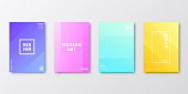 Set of four vertical brochure templates with modern and trendy backgrounds, isolated on blank background. Abstract colorful illustrations with two symmetrical folds and beautiful color gradients (colors used: Purple, Pink, Orange, Green, Blue, Turquoise, Yellow). Can be used for different designs, such as brochure, cover design, magazine, business annual report, flyer, leaflet, presentations... Template for your own design, with space for your text. The layers are named to facilitate your customization. Vector Illustration (EPS10, well layered and grouped), wide format (2:1). Easy to edit, manipulate, resize and colorize.