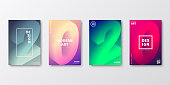 Set of four vertical brochure templates with modern and trendy backgrounds, isolated on blank background. 2020 or number 2 (two), 0 (zero), 2 (two), 0 (zero) in isometric view with beautiful color gradients (colors used: Purple, Pink, Green, Gray, Blue, Black, Beige, Turquoise, Yellow). Can be used for different designs, such as brochure, cover design, magazine, business annual report, flyer, leaflet, presentations... Template for your own design, with space for your text. The layers are named to facilitate your customization. Vector Illustration (EPS10, well layered and grouped), wide format (2:1). Easy to edit, manipulate, resize and colorize.