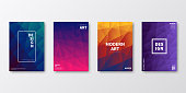 Set of four vertical brochure templates with modern and trendy backgrounds, isolated on blank background. Abstract geometric illustrations. Polygonal mosaics with beautiful color gradients (colors used: Red, Purple, Pink, Orange, Green, Brown, Blue, Black). Can be used for different designs, such as brochure, cover design, magazine, business annual report, flyer, leaflet, presentations... Template for your own design, with space for your text. The layers are named to facilitate your customization. Vector Illustration (EPS10, well layered and grouped), wide format (2:1). Easy to edit, manipulate, resize and colorize.