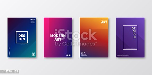 Set of four vertical brochure templates with modern and trendy backgrounds, isolated on blank background. Abstract colorful illustrations with two symmetrical folds and beautiful color gradients (colors used: Red, Purple, Pink, Orange, Green, Brown, Blue, Black). Can be used for different designs, such as brochure, cover design, magazine, business annual report, flyer, leaflet, presentations... Template for your own design, with space for your text. The layers are named to facilitate your customization. Vector Illustration (EPS10, well layered and grouped), wide format (2:1). Easy to edit, manipulate, resize and colorize.