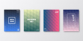 Set of four vertical brochure templates with modern and trendy backgrounds, isolated on blank background. Abstract colorful illustrations with geometric patterns and beautiful color gradients (colors used: Red, Purple, Pink, Orange, Green, Gray, Brown, Blue, Black, Beige, Yellow). Can be used for different designs, such as brochure, cover design, magazine, business annual report, flyer, leaflet, presentations... Template for your own design, with space for your text. The layers are named to facilitate your customization. Vector Illustration (EPS10, well layered and grouped), wide format (2:1). Easy to edit, manipulate, resize and colorize.