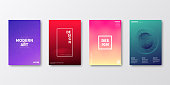 Set of four vertical brochure templates with modern and trendy backgrounds, isolated on blank background. Abstract futuristic illustrations. Geometric designs with beautiful color gradients (colors used: Red, Purple, Pink, Orange, Green, Blue, Black, Beige, Yellow). Can be used for different designs, such as brochure, cover design, magazine, business annual report, flyer, leaflet, presentations... Template for your own design, with space for your text. The layers are named to facilitate your customization. Vector Illustration (EPS10, well layered and grouped), wide format (2:1). Easy to edit, manipulate, resize and colorize.