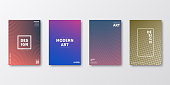 Set of four vertical brochure templates with modern and trendy backgrounds, isolated on blank background. Abstract colorful illustrations with geometric shapes and beautiful color gradients (colors used: Red, Purple, Pink, Orange, Green, Gray, Brown, Blue, Black, Beige, Yellow). Can be used for different designs, such as brochure, cover design, magazine, business annual report, flyer, leaflet, presentations... Template for your own design, with space for your text. The layers are named to facilitate your customization. Vector Illustration (EPS10, well layered and grouped), wide format (2:1). Easy to edit, manipulate, resize and colorize.