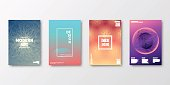 Set of four vertical brochure templates with modern and trendy backgrounds, isolated on blank background. Abstract futuristic illustrations. Geometric designs with beautiful color gradients (colors used: Red, Purple, Pink, Orange, Green, Gray, Brown, Blue, Black, Beige, Turquoise, Yellow). Can be used for different designs, such as brochure, cover design, magazine, business annual report, flyer, leaflet, presentations... Template for your own design, with space for your text. The layers are named to facilitate your customization. Vector Illustration (EPS10, well layered and grouped), wide format (2:1). Easy to edit, manipulate, resize and colorize.
