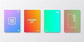 Set of four vertical brochure templates with modern and trendy backgrounds, isolated on blank background. Abstract colorful illustrations. Geometric designs with curves and beautiful color gradients (colors used: Red, Purple, Pink, Orange, Green, Blue, Turquoise, Yellow). Can be used for different designs, such as brochure, cover design, magazine, business annual report, flyer, leaflet, presentations... Template for your own design, with space for your text. The layers are named to facilitate your customization. Vector Illustration (EPS10, well layered and grouped), wide format (2:1). Easy to edit, manipulate, resize and colorize.