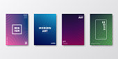 Set of four vertical brochure templates with modern and trendy backgrounds, isolated on blank background. Abstract colorful illustrations with geometric shapes and beautiful color gradients (colors used: Purple, Pink, Green, Blue, Black). Can be used for different designs, such as brochure, cover design, magazine, business annual report, flyer, leaflet, presentations... Template for your own design, with space for your text. The layers are named to facilitate your customization. Vector Illustration (EPS10, well layered and grouped), wide format (2:1). Easy to edit, manipulate, resize and colorize.