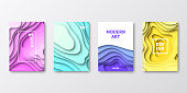 Set of four vertical brochure templates with modern and trendy backgrounds, isolated on blank background. Abstract illustrations with wave shapes in a paper cut style and beautiful color gradients (colors used: Purple, Pink, Orange, Green, Blue, Turquoise, Yellow). Can be used for different designs, such as brochure, cover design, magazine, business annual report, flyer, leaflet, presentations... Template for your own design, with space for your text. The layers are named to facilitate your customization. Vector Illustration (EPS10, well layered and grouped), wide format (2:1). Easy to edit, manipulate, resize and colorize.