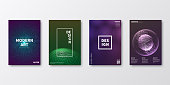 Set of four vertical brochure templates with modern and trendy backgrounds, isolated on blank background. Abstract geometric illustrations. Dark futuristic designs with beautiful color gradients (colors used: Purple, Pink, Orange, Green, Blue, Beige, Turquoise, Yellow). Can be used for different designs, such as brochure, cover design, magazine, business annual report, flyer, leaflet, presentations... Template for your own design, with space for your text. The layers are named to facilitate your customization. Vector Illustration (EPS10, well layered and grouped), wide format (2:1). Easy to edit, manipulate, resize and colorize.