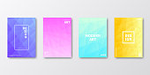 Set of four vertical brochure templates with modern and trendy backgrounds, isolated on blank background. Abstract geometric illustrations. Polygonal mosaics with beautiful color gradients (colors used: Purple, Pink, Orange, Green, Blue, Turquoise, Yellow). Can be used for different designs, such as brochure, cover design, magazine, business annual report, flyer, leaflet, presentations... Template for your own design, with space for your text. The layers are named to facilitate your customization. Vector Illustration (EPS10, well layered and grouped), wide format (2:1). Easy to edit, manipulate, resize and colorize.