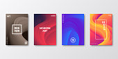 Set of four vertical brochure templates with modern and trendy backgrounds, isolated on blank background. Abstract colorful illustrations with fluid, liquid, 3d shapes and beautiful color gradients (colors used: Red, Purple, Pink, Orange, Brown, Blue, Black, Yellow). Can be used for different designs, such as brochure, cover design, magazine, business annual report, flyer, leaflet, presentations... Template for your own design, with space for your text. The layers are named to facilitate your customization. Vector Illustration (EPS10, well layered and grouped), wide format (2:1). Easy to edit, manipulate, resize and colorize.