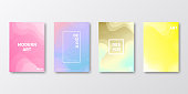 Set of four vertical brochure templates with modern and trendy backgrounds, isolated on blank background. Futuristic colorful illustrations, looking like a meteor shower. Geometric shapes with beautiful color gradients (colors used: Red, Purple, Pink, Orange, Green, Gray, Brown, Blue, Beige, Turquoise, Yellow). Can be used for different designs, such as brochure, cover design, magazine, business annual report, flyer, leaflet, presentations... Template for your own design, with space for your text. The layers are named to facilitate your customization. Vector Illustration (EPS10, well layered and grouped), wide format (2:1). Easy to edit, manipulate, resize and colorize.