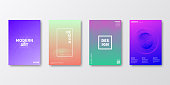 Set of four vertical brochure templates with modern and trendy backgrounds, isolated on blank background. Abstract futuristic illustrations. Geometric designs with beautiful color gradients (colors used: Red, Purple, Pink, Orange, Green, Blue, Beige). Can be used for different designs, such as brochure, cover design, magazine, business annual report, flyer, leaflet, presentations... Template for your own design, with space for your text. The layers are named to facilitate your customization. Vector Illustration (EPS10, well layered and grouped), wide format (2:1). Easy to edit, manipulate, resize and colorize.