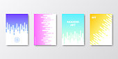 Set of four vertical brochure templates with modern and trendy backgrounds, isolated on blank background. Abstract colorful illustrations with rounded lines and beautiful color gradients (colors used: Purple, Pink, Orange, Green, Blue, Turquoise, Yellow). Can be used for different designs, such as brochure, cover design, magazine, business annual report, flyer, leaflet, presentations... Template for your own design, with space for your text. The layers are named to facilitate your customization. Vector Illustration (EPS10, well layered and grouped), wide format (2:1). Easy to edit, manipulate, resize and colorize.