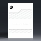 Vertical brochure template with an abstract background. White pattern, hexagons background.