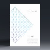 Vertical brochure template with an abstract geometric background. Blue and purple pattern, geometric background with cube shape.