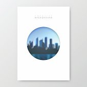 Vertical brochure template with an view of skyscrapers. Blurred city background.