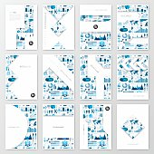 Set of twelve vertical brochure templates with an infographic background. Infographic background with different elements like charts, pie charts, diagrams, time lines,...