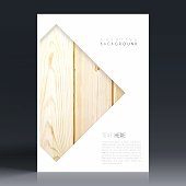 Vertical brochure template with an textured wooden background.
