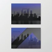 Set of two horizontal brochure templates with an view of skyscrapers. Blurred city background in black and white with a transparent blue effect.
