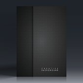 Vertical brochure template with an carbon metallic background, carbon fiber texture.