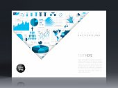 Horizontal brochure template with an infographic background. Infographic background with different elements like charts, pie charts, diagrams, time lines,...