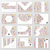 Set of twelve horizontal brochure templates with color people on white background.