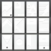 Set of twelve vertical brochure templates with an abstract background. White pattern, hexagons background.