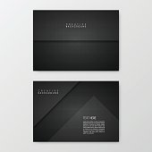 Set of two horizontal brochure templates with an carbon metallic background, carbon fiber texture.