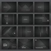 Set of twelve horizontal brochure templates with an carbon metallic background, carbon fiber texture.