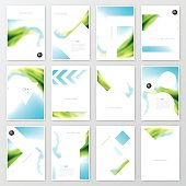 Set of twelve vertical brochure templates with an abstract background. Blurred landscape, blue sky, nature, sea, with bright colors.