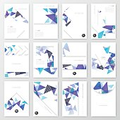 Set of twelve vertical brochure templates with an abstract geometric background. Modern background with bleu, purple and turquoise triangles.