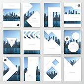 Set of twelve vertical brochure templates with an view of skyscrapers. Blurred city background.